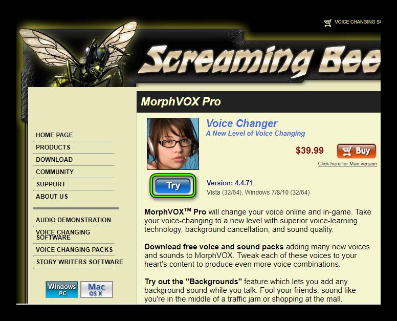 Кнопка Try на сайте MorphVox