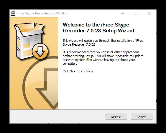 Начало установки iFree Skype Recorder