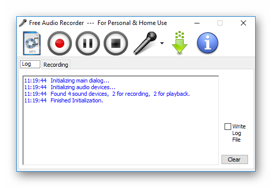 Вид Free Audio Recorder