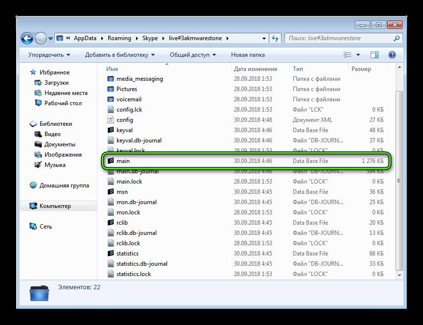 Файл main.db от старого Skype